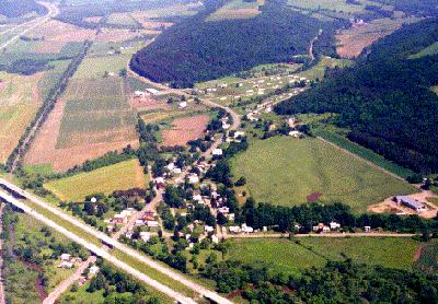 aerial view of Wallace, New York